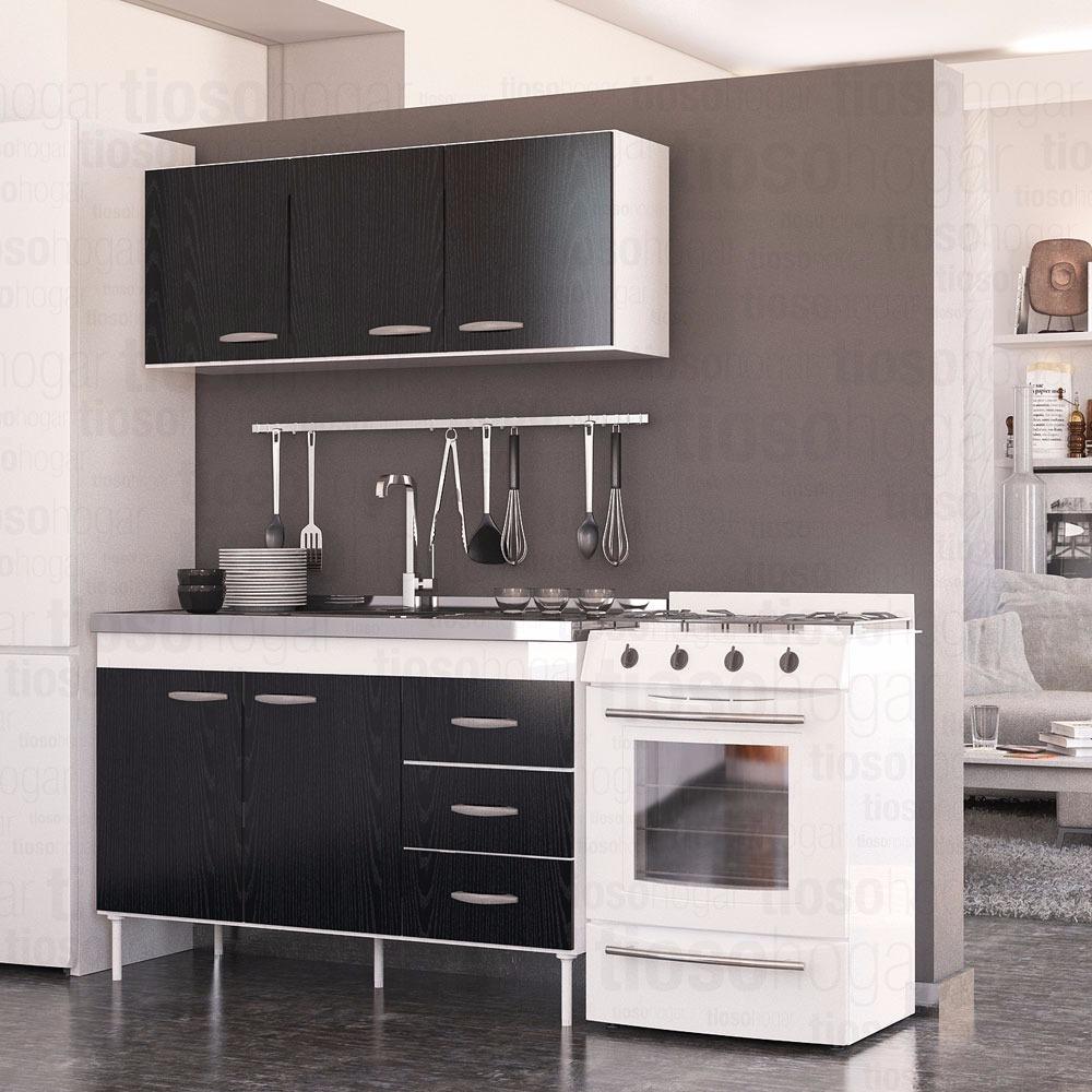 Muebles Cocina Completo Bajo Mesada Bacha Alacena 120 Fresno  # Muebles Sunchales