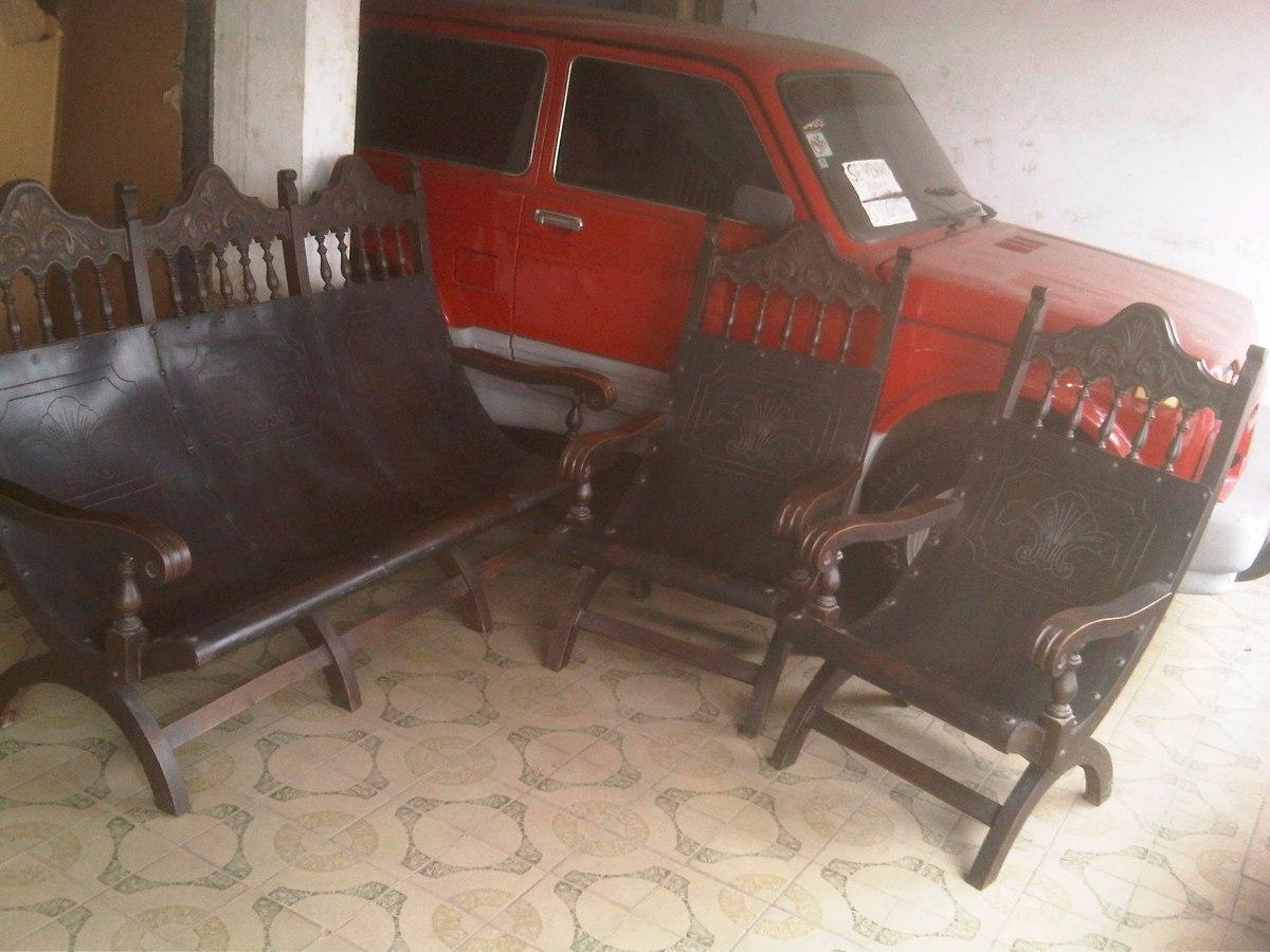 Muebles coloniales tipo tobogan en madera caoba y cuerosuela bs en mercado libre - Muebles tipo colonial ...
