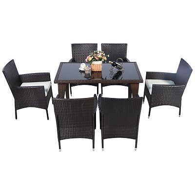 Muebles Comedor Conjunto Mesa Sillas Jardín Rattan Mimbre 3 ...