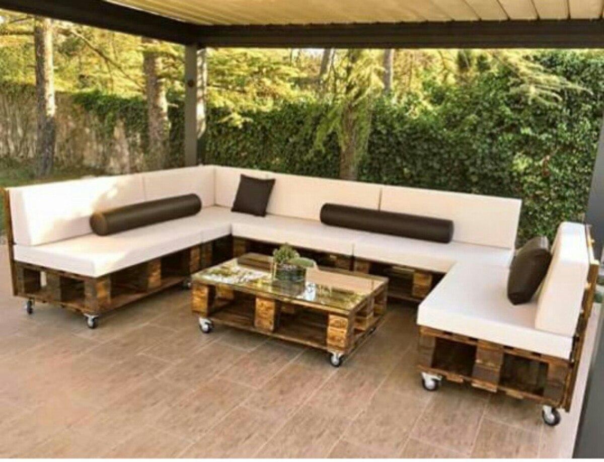 Muebles con estibas r stico o terminados en Muebles hechos con estibas