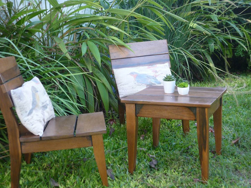 muebles con mesa ratona apto exterior madera dura protegida