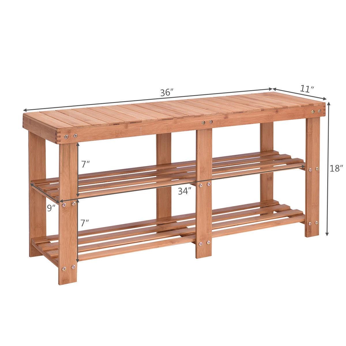 Muebles De Bambú Zapato Rack Banco Almacenamiento Estante ...
