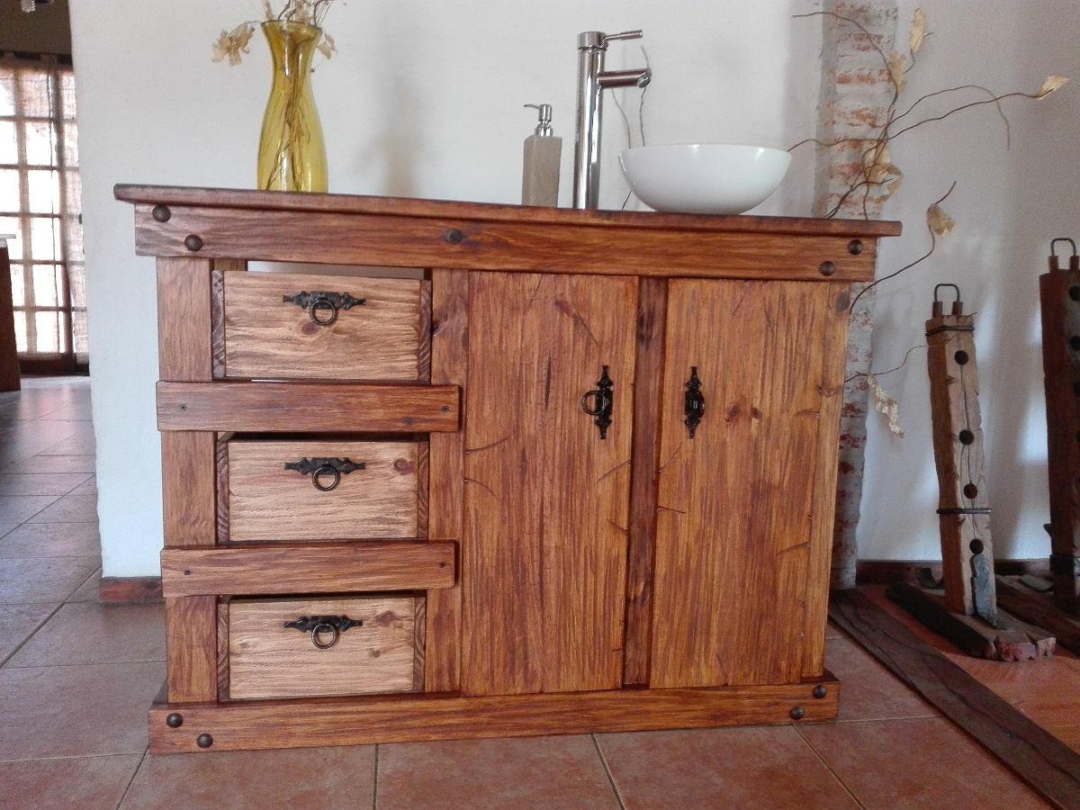 Muebles de ba o r stico madera herrajes de hierro for Modelos de muebles de madera