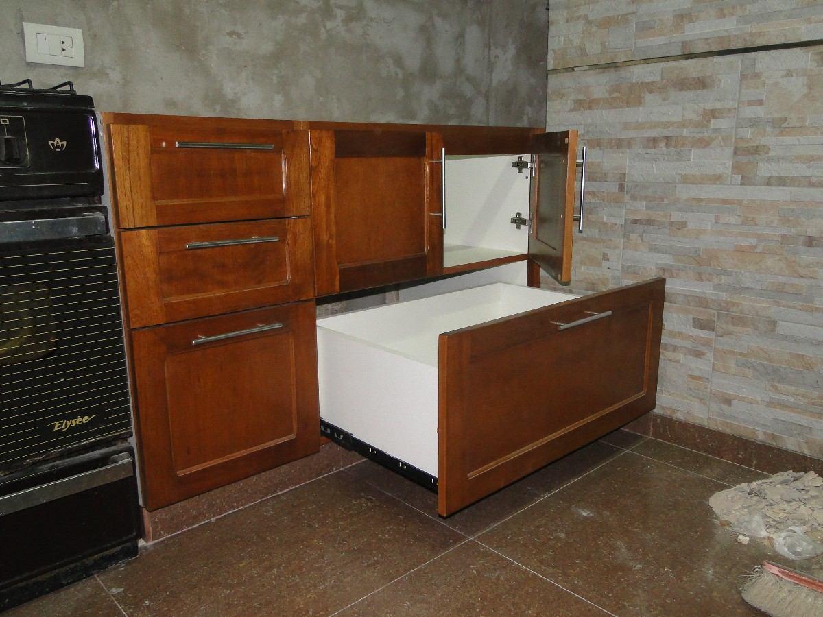 Muebles De Cocina En Madera Cedro Lustrado 5 500 00 En Mercado  # Muebles De Cocina De Madera
