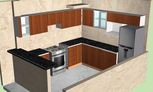 muebles de cocina melamine con diseños en 3d y granito