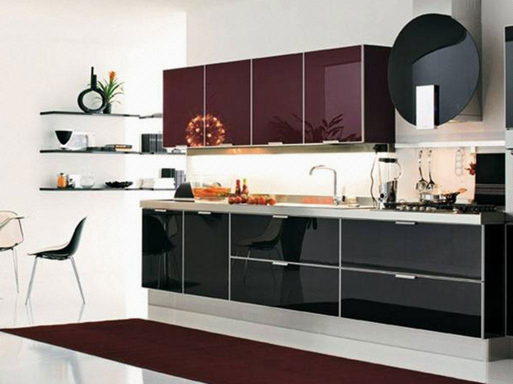 Muebles de cocina modernos de melamina puertas de cristal for Muebles de cristal