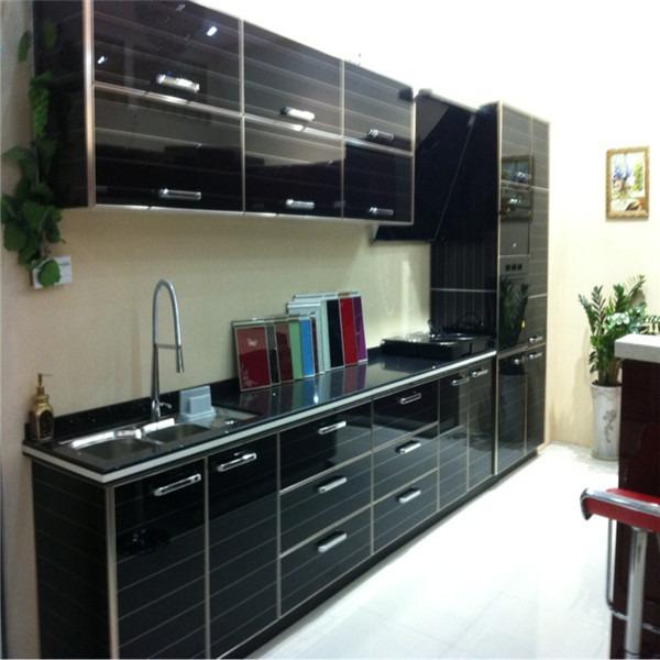 Muebles de cocina modernos de melamina puertas de cristal for Muebles de cocina pequena modernos