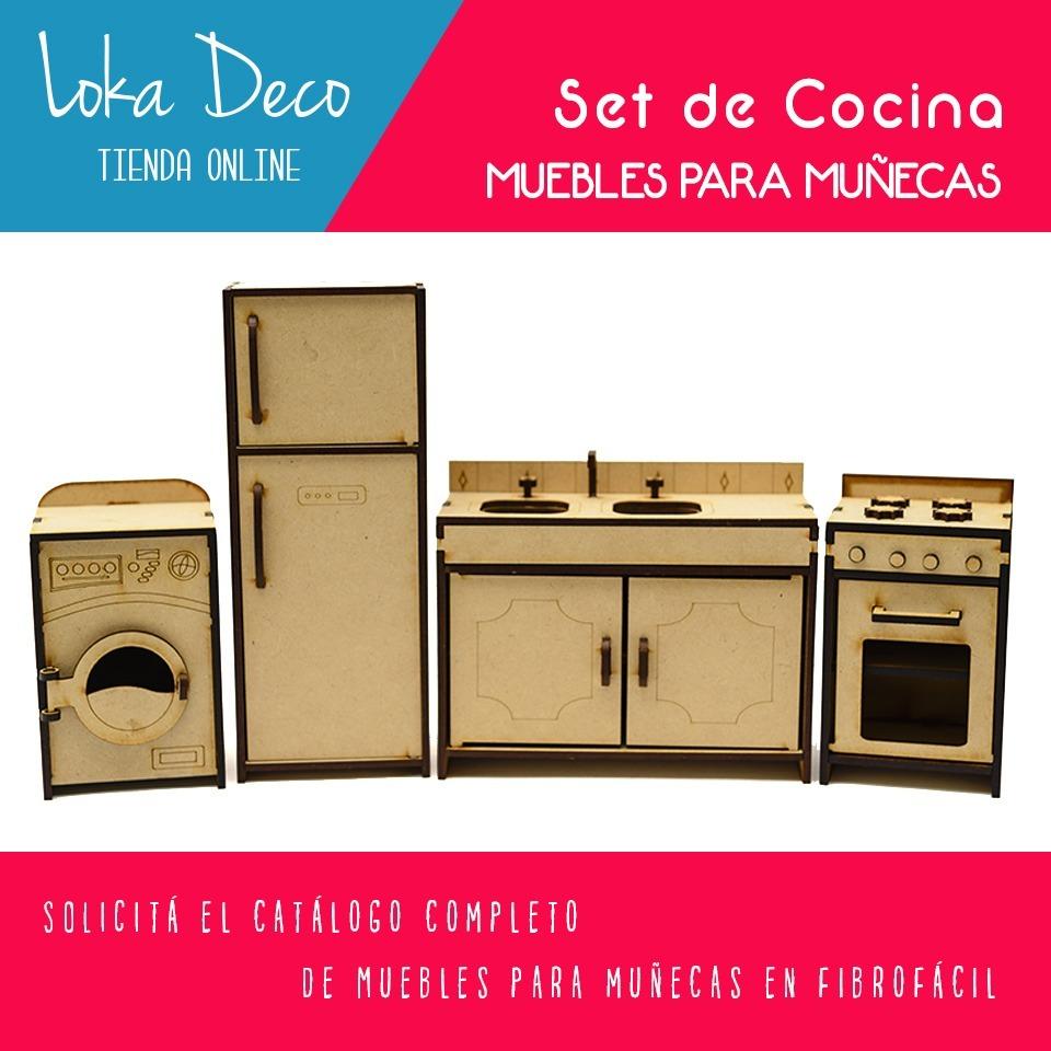 Muebles De Cocina Para Muñecas Fibro Facil Laser Set 4 Pieza - $ 295 ...