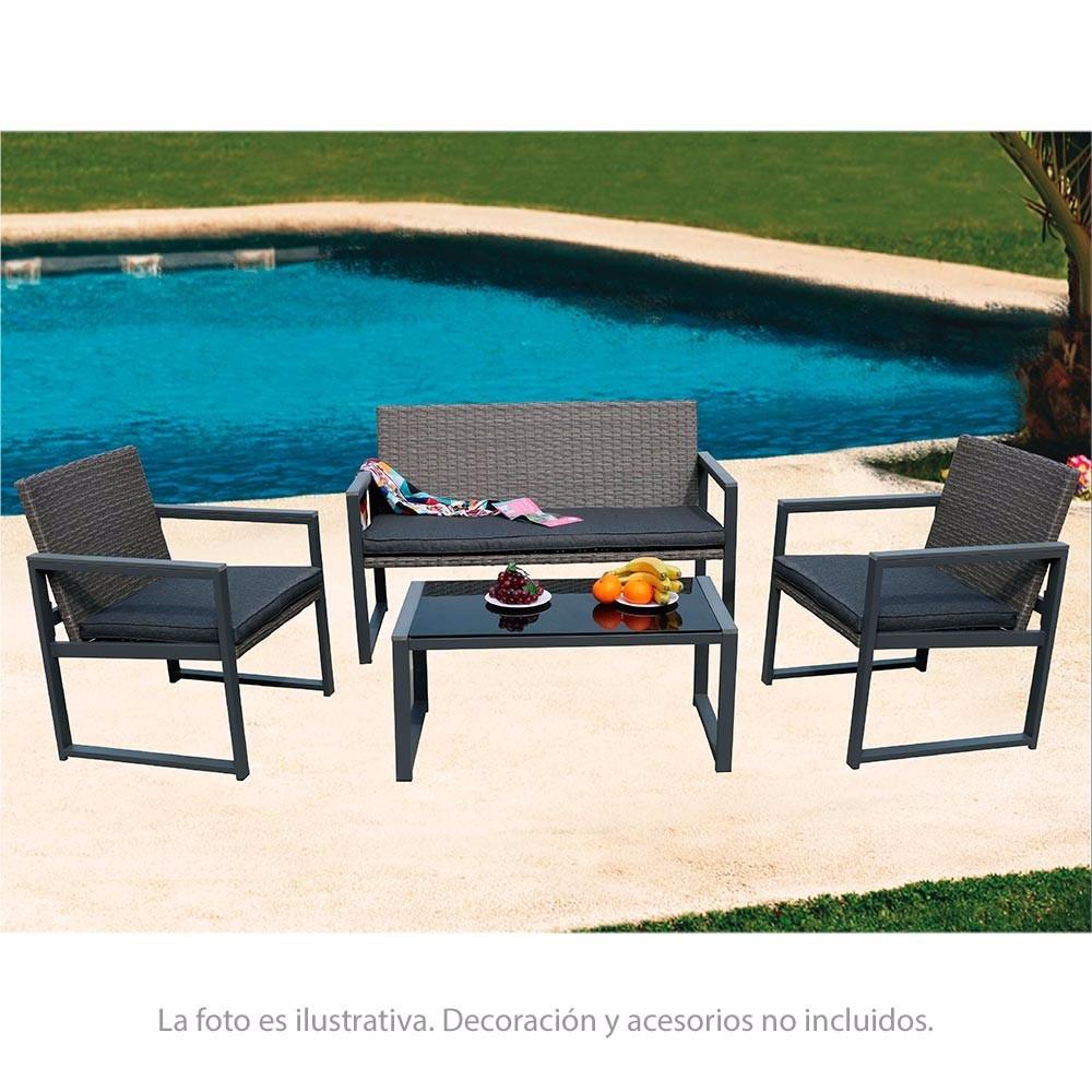 Muebles De Jardin Hometrends Acero Y Ratan 4 Piezas Rf673 - $ 6.800 ...