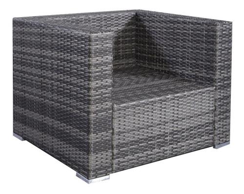 muebles de jardín sala de rattan en color gris