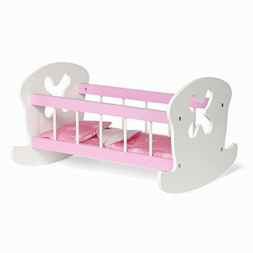 Muebles De Muñecas De 18 Pulgadas | Cuna De Color Rosa Y Bl ...