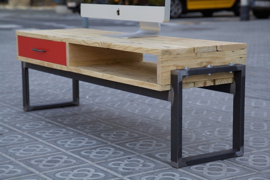 Cocinas alargadas for Muebles de hierro y madera