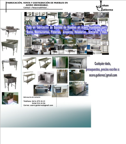 muebles en acero inoxidable, mesas, fregaderos, estantes