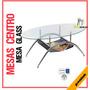 Mesa Centro Ovalada Glass Vidrio Base Cromada Mobiliario Ofi
