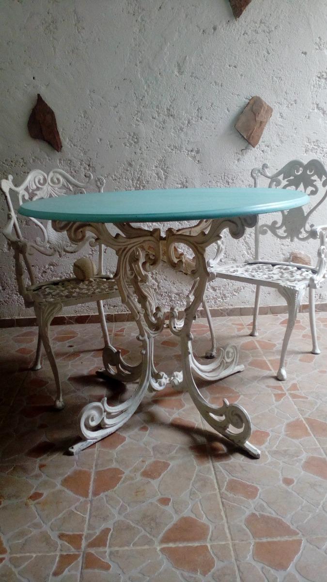 Muebles Jardín Exteriores Hierro Y Mármol Mesa Y Sillas - Bs ...