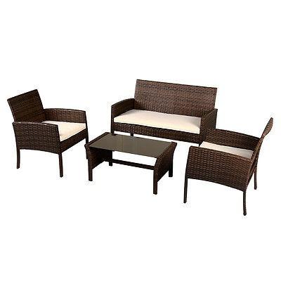 4 Piezas Muebles Mimbre Rattan Sofa Conjunto Jardín Mesa - $ 1.240 ...