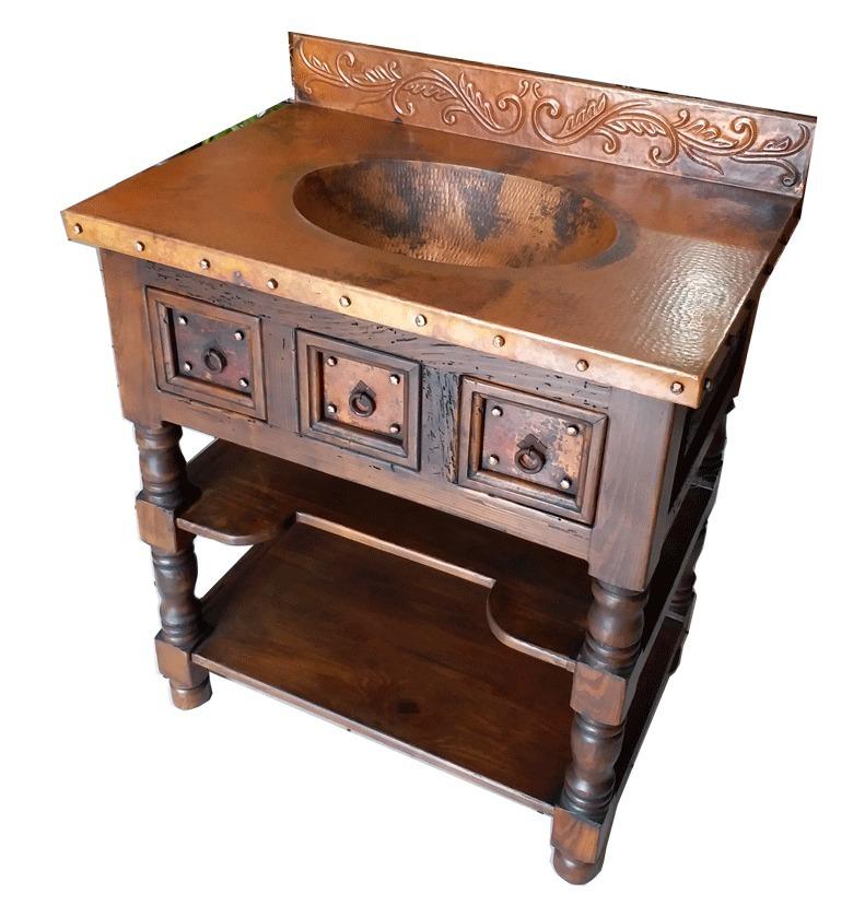Muebles lavamanos para ba o de cobre madera 8 for Lavamanos rusticos de madera