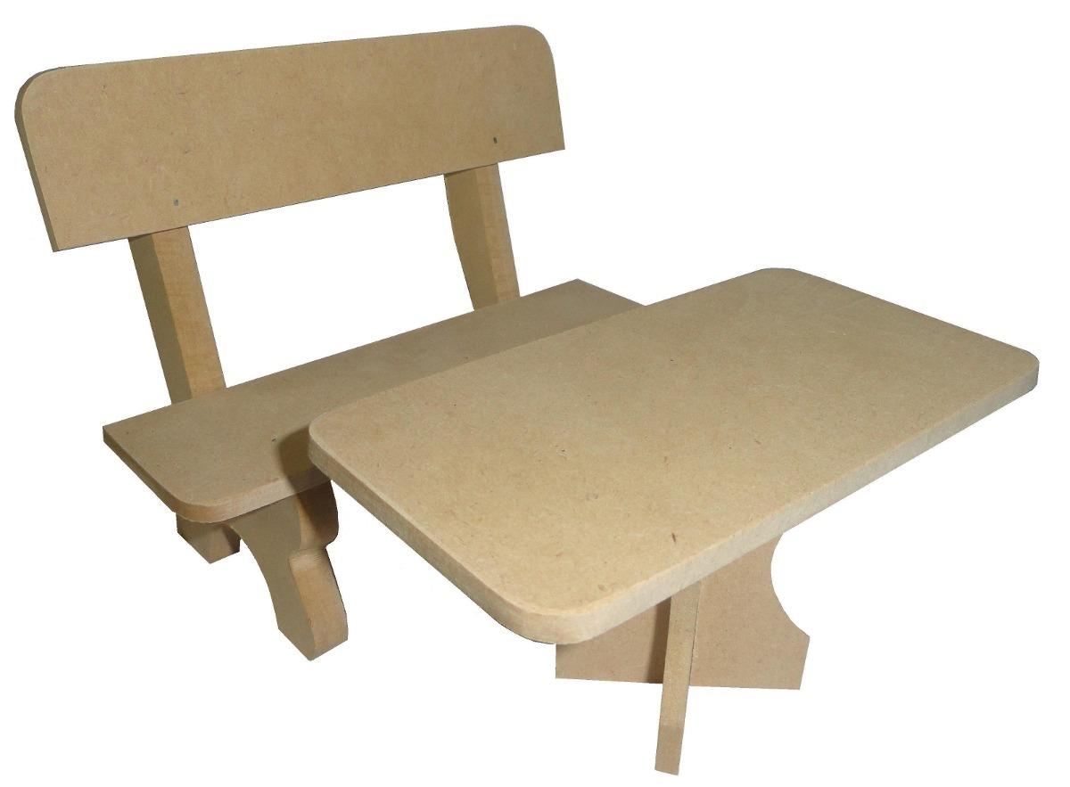 Muebles Mesa Y Banco Para Muñecas Barbie Fibrofacil P/pintar - $ 100 ...