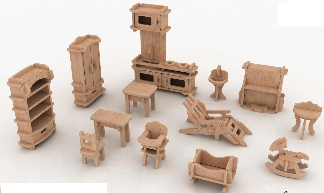 Muebles miniatura casa de mu ecas mdf kit gmcm022 130 for Muebles de casa