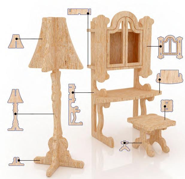 Muebles miniatura casa de mu ecas mdf kit gmcm024 155 - Como hacer muebles para casa de munecas ...