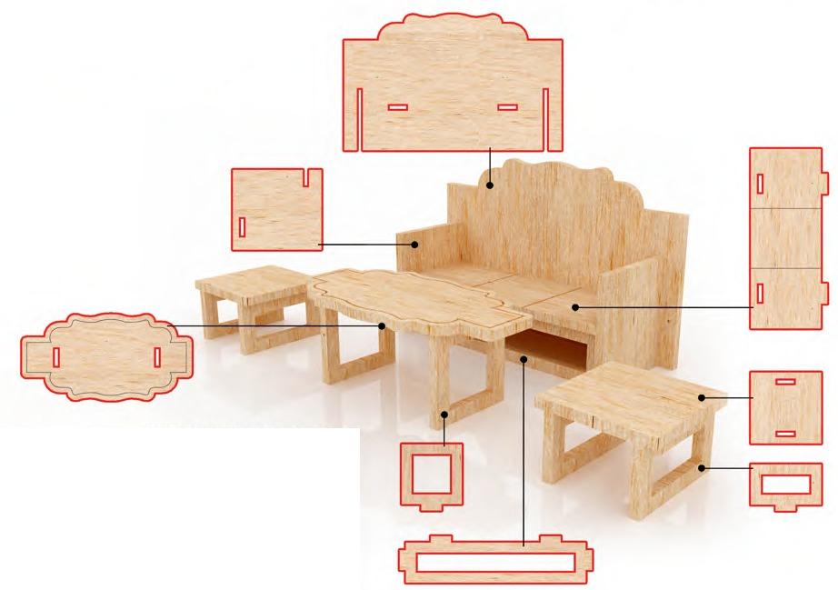 Muebles Miniatura Casa De Mu Ecas Mdf Kit Gmcm025 165