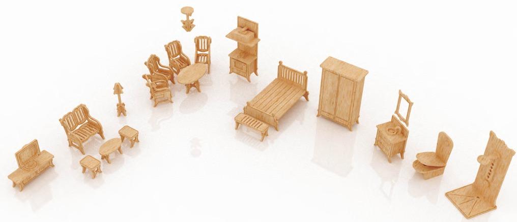 Muebles miniatura casa de mu ecas mdf kit gmcm027 155 - Como hacer muebles para casa de munecas ...