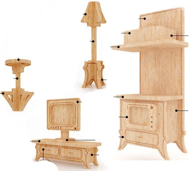 Muebles miniatura casa de mu ecas mdf kit gmcm027 155 for Armar muebles de mdf