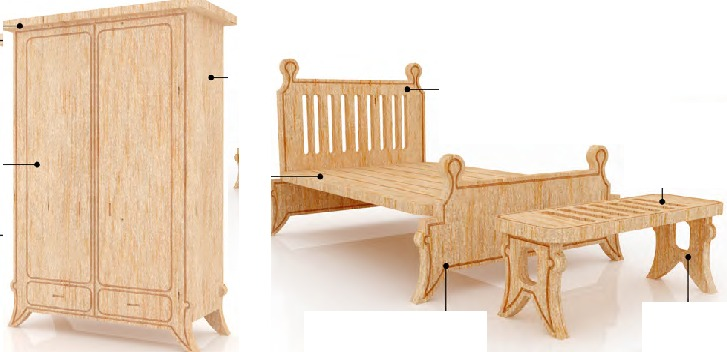 Muebles miniatura casa de mu ecas mdf kit gmcm027 155 for Muebles casa de munecas