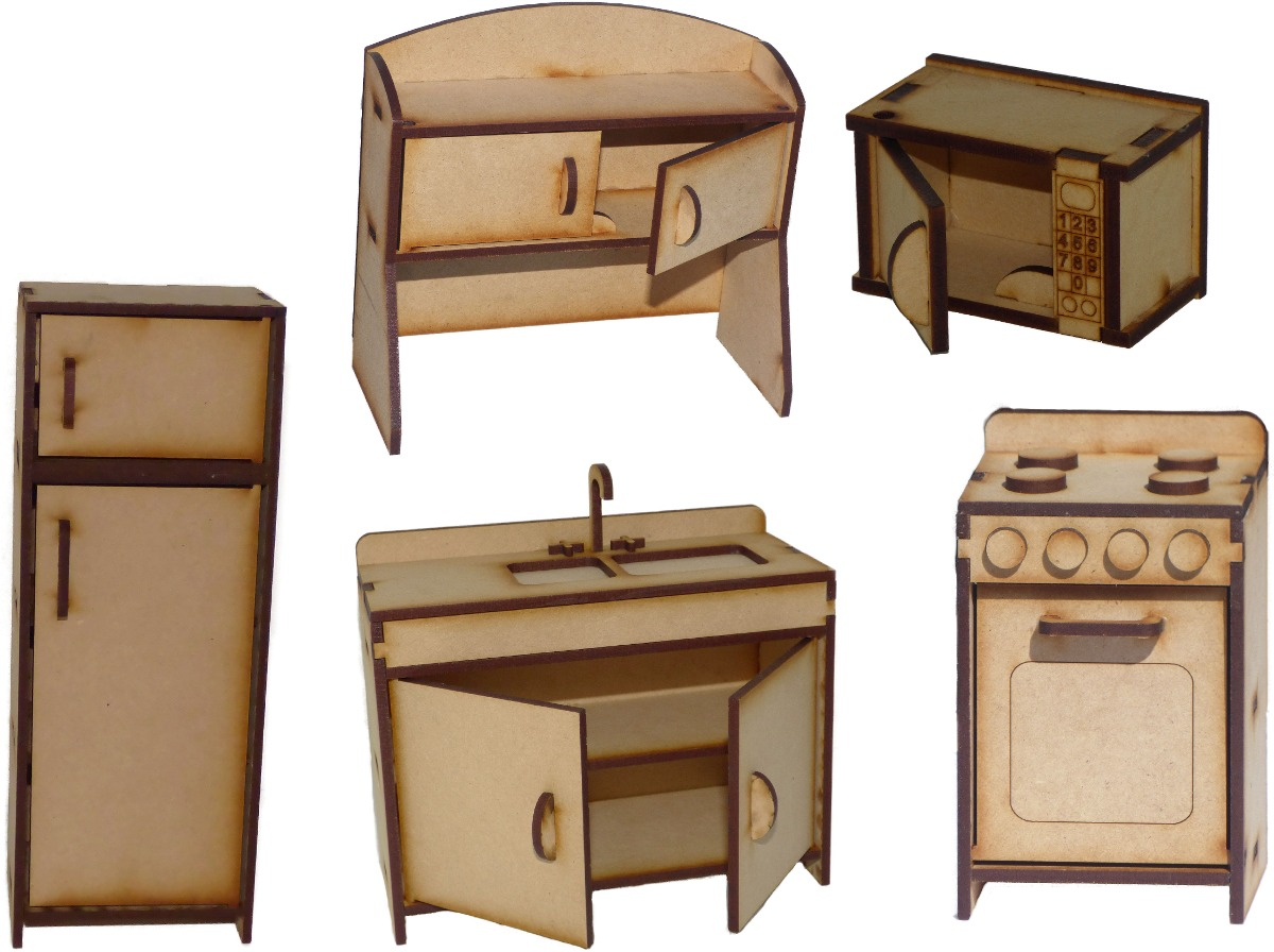 Muebles Mu Ecas Barbies Casa Fibrofacil Juego De Cocina  # Muebles Fibrofacil Para Casa Munecas
