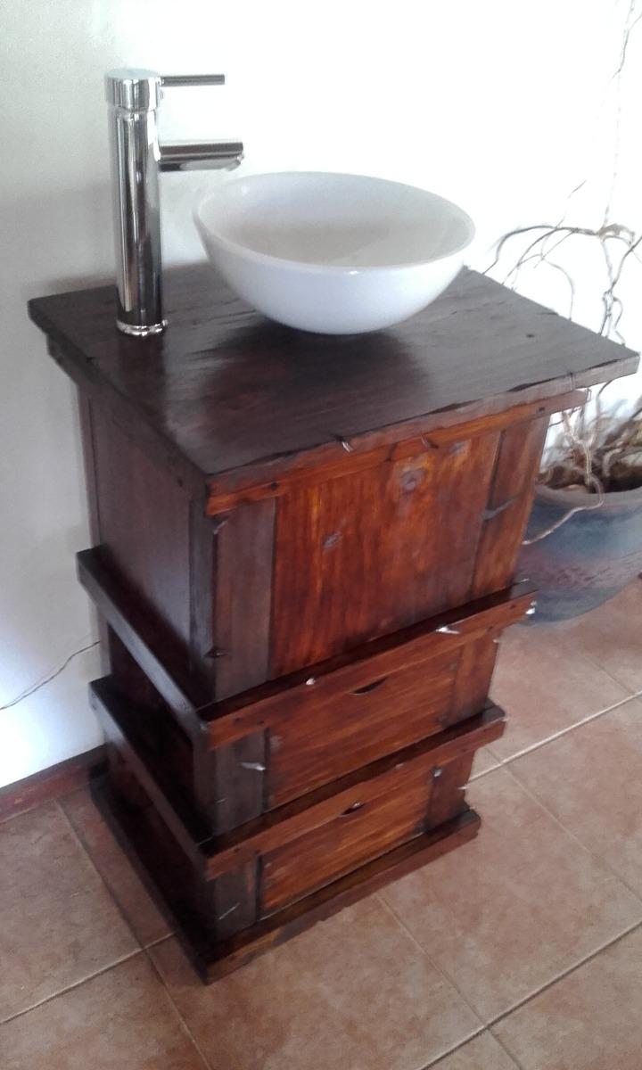 Muebles para ba o r stico madera con toallero decoformas for Muebles de bano de madera rusticos