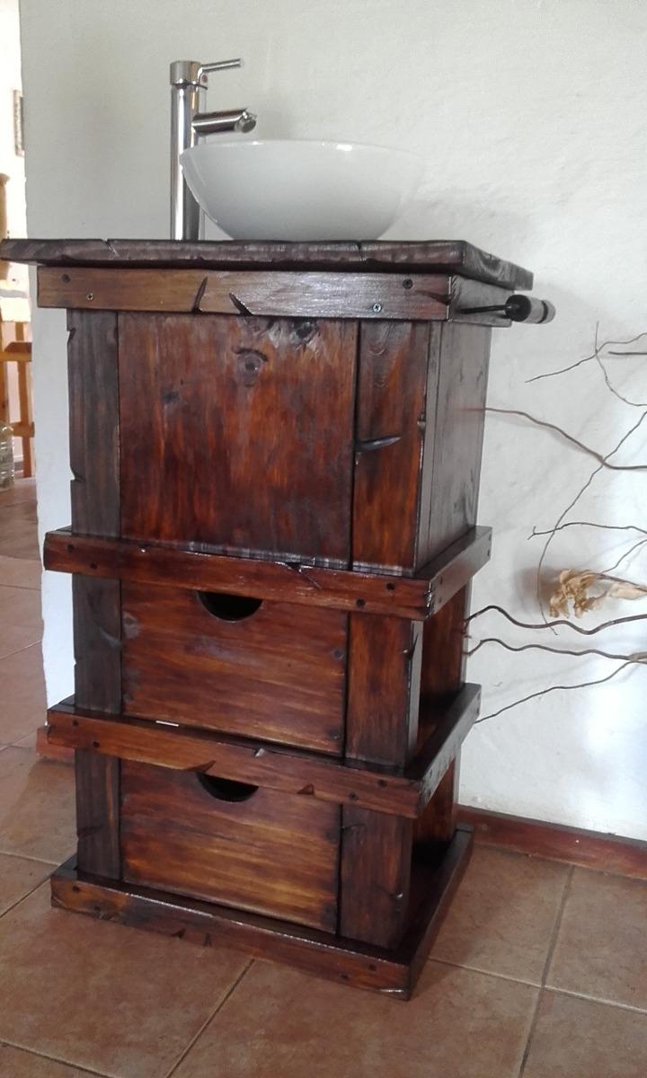 Muebles para ba o r stico madera con toallero decoformas for Muebles para bano de madera