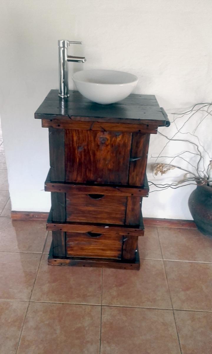 Muebles para ba o r stico madera con toallero decoformas - Toalleros de madera para bano ...