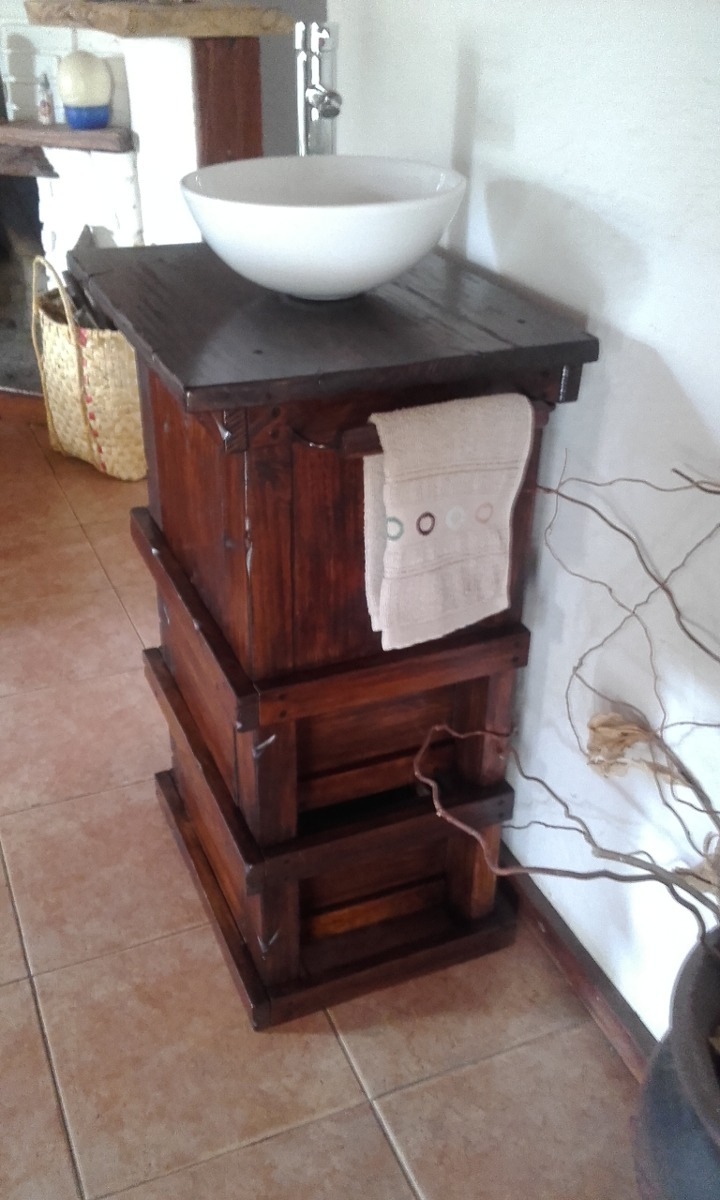 Muebles De Baño Mercado Libre Uruguay : Muebles para ba?o r?stico madera con toallero decoformas
