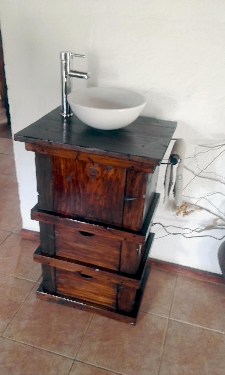 Muebles para ba o r stico madera con toallero decoformas - Muebles de bano madera ...
