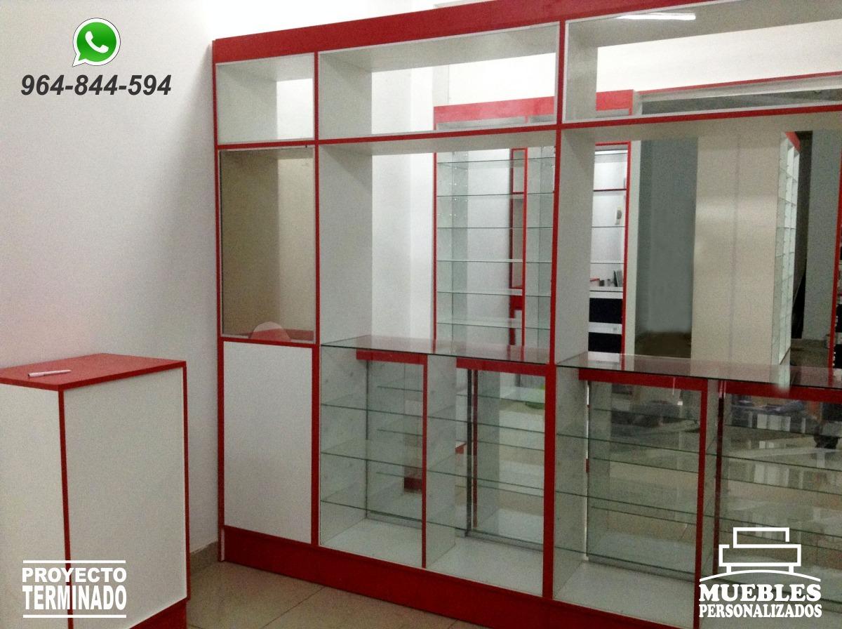 Muebles para botica anaqueles mostradores vitrinas s - Vitrinas empotradas en pared ...