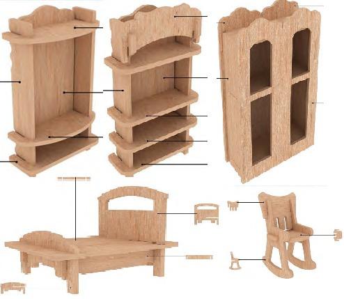 Muebles para casa de mu ecas mdf kit de muebles miniatura for Casas de muebles en sevilla
