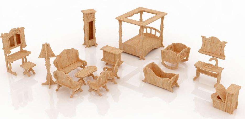 Muebles para casa de mu ecas mdf kit de muebles miniatura for Jardin la casa de munecos