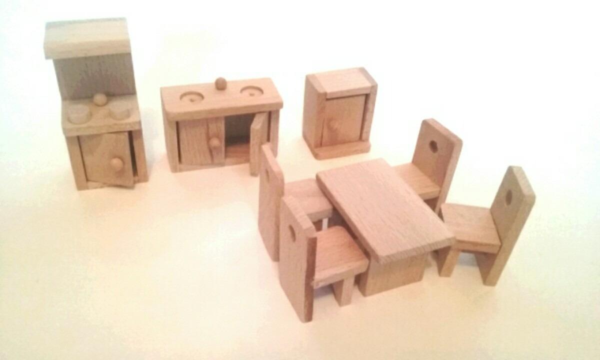 Muebles para casas de mu eca de madera ba o cocina for Casas de muebles de cocina
