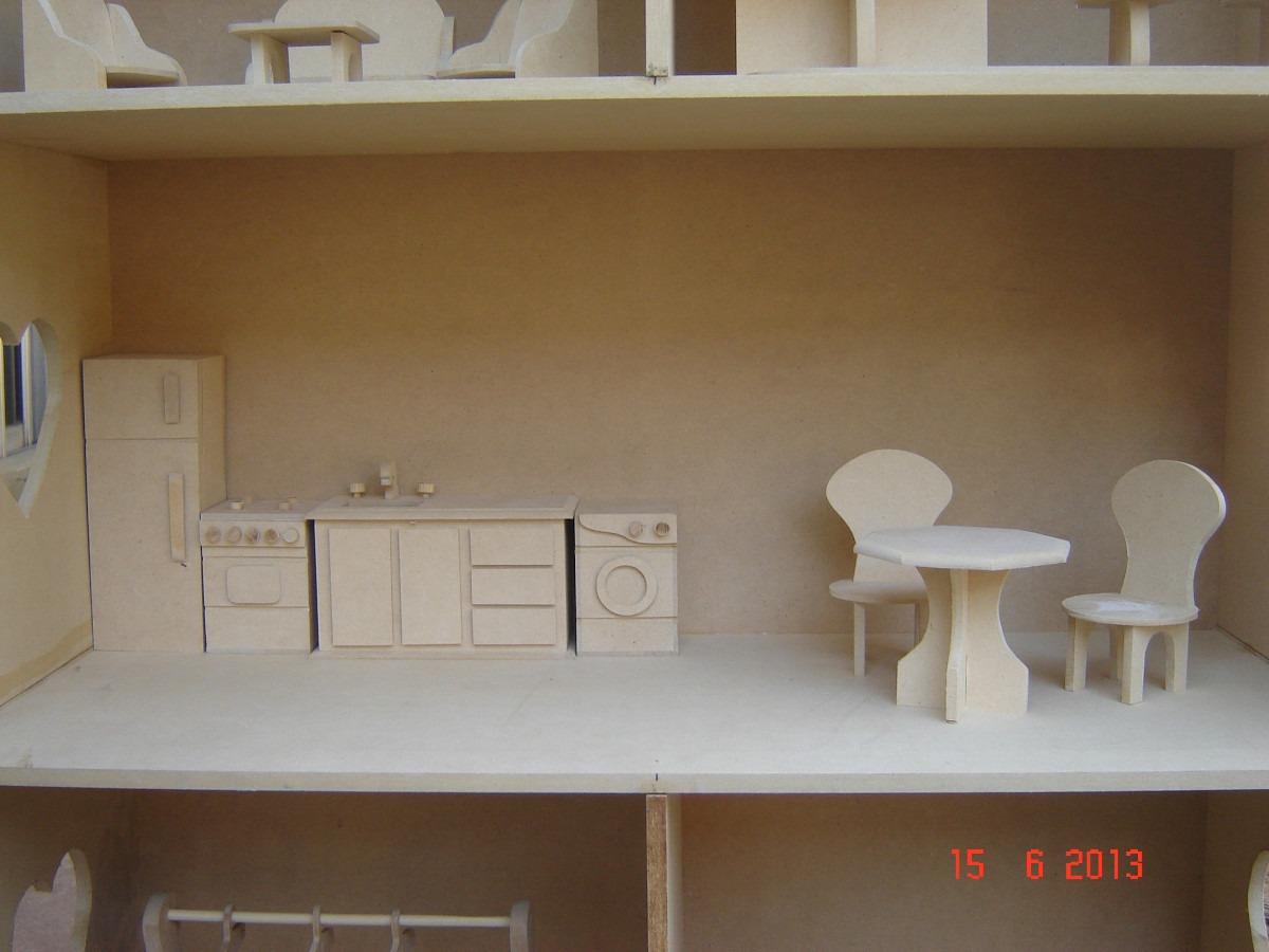 Casita Mu Ecas Barbie Fibrofacil Con Muebles Para Pintar  # Muebles Sin Pintar