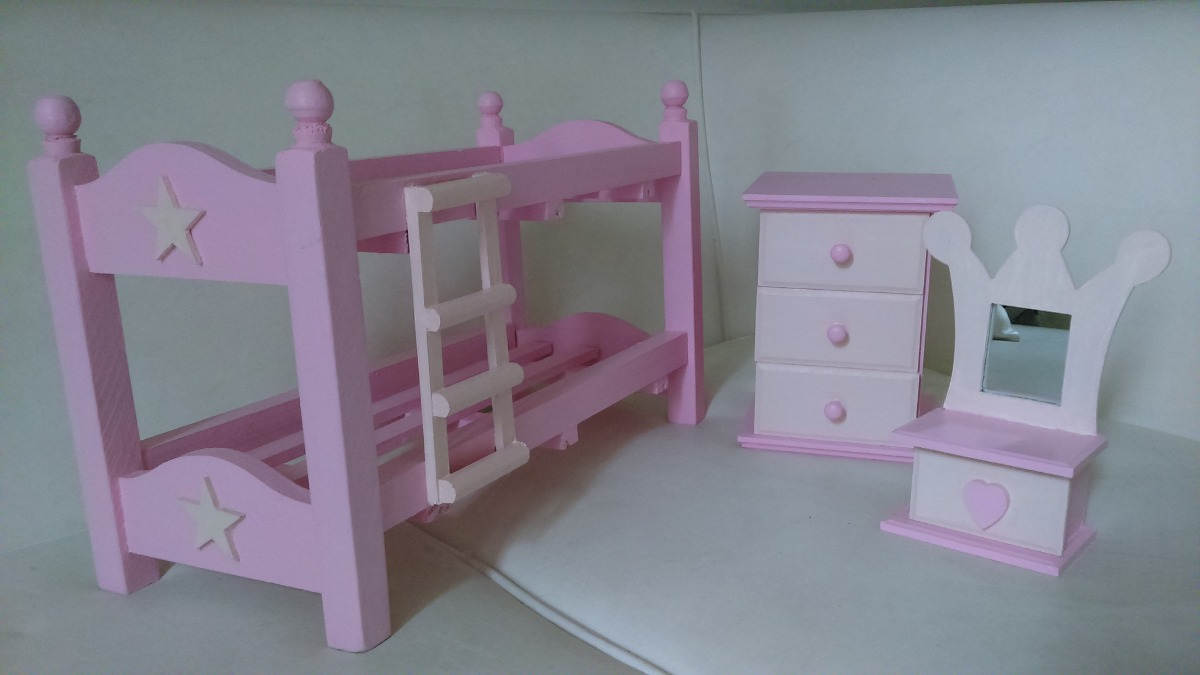 Muebles Para Muñecas Barbie Dormitorio Cucheta-pino Pintad - $ 550 ...