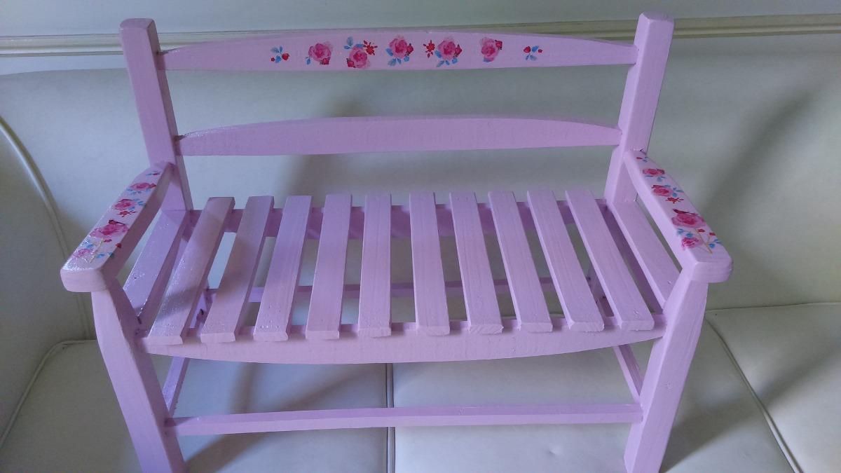 Muebles Para Niños-banco Jardin Madera Pintado+decaupage - $ 690,00 ...