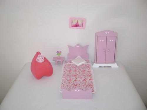 muebles pintados casita de muñeca barbie.juego de dormitorio