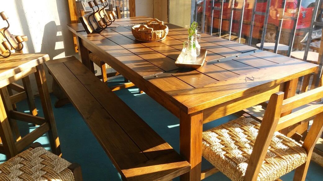 Muebles Rusticos. Comedor Con Bancos Y Sillas - $ 31.500,00 en ...