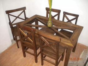 Muebles Rusticos Mesa Cocina Comedor 1.40x0.80 + 6 Sillas