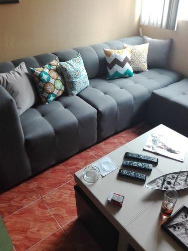 muebles sala vintage moderna esquinera lino gris saura