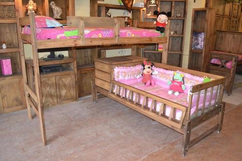 muebles tigre cuna funcional con cama superpuesta maciza
