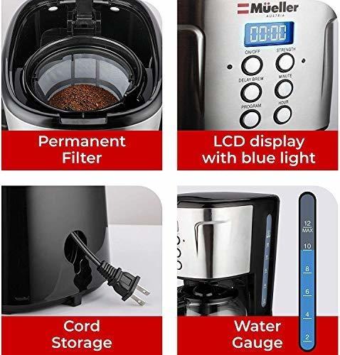 mueller ultrabrew coffee maker, maquina programable de 12 ta