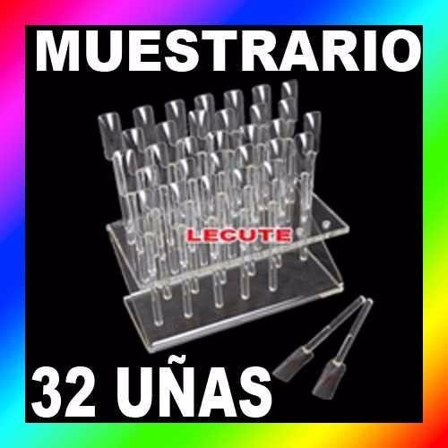 muestrario exhibidor de 32 uñas tips decoracion acrilico