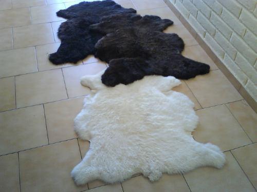 muflones piel cordero. cueros de oveja, alfombra con forma.