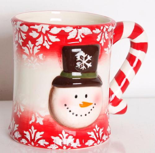 mug cara de hombre de nieve rojo 11cm
